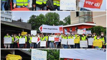 Warnstreiktag im Rahmen der Tarifrunde Handel am Freitag, den 25. Juni 2021 in Regensburg